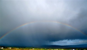 Soft rain frequently falls upon Donegal, Ireland, but the upside is it's often followed by rainbows. Hilary Nangle photo.