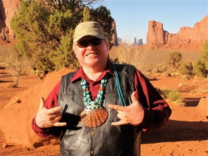 Navajo guide Harold Simpson lives on the valley floor of Monument Valley. ©Hilary Nangle