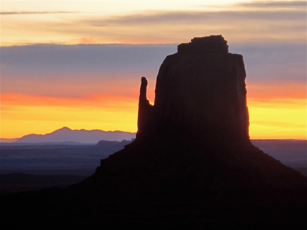 Sunrise over the Right Mitten land formation, from The View Hotel, Monument Valley_ Ariz_ Hilary Nangle photo_