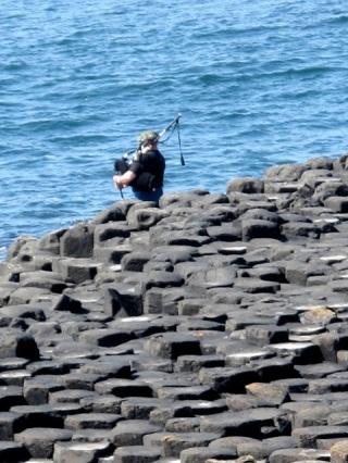A bagpiper on The Giant's Causeway. Hilary Nangle photo.