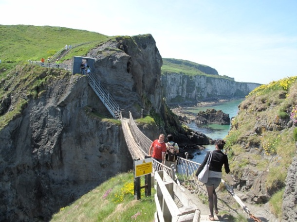 Crossing the wobbly Carrick-a-rede bridge isn't for those with a fear of heights. ©Hilary Nangle