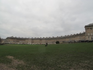 The Royal Crescent, comprising 30 rowhouses with 114 Ionic columns, is considered perhaps the greatest example of Georgian architecture in England.