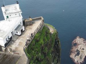 Rathlin Island's upside-down lighthouse with the bird colony below. ©Hilary Nangle