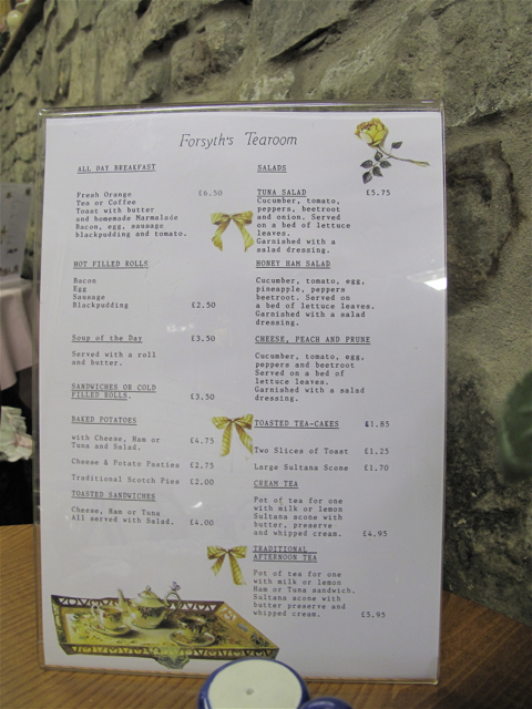Menu at Forsyth's Tea Room, Edinburgh. Hilary Nangle photo