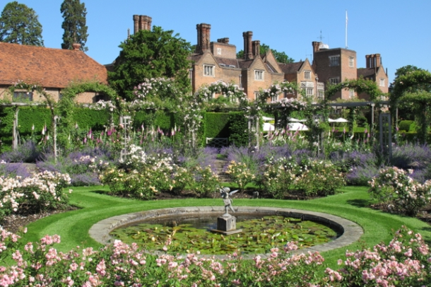 Great Fosters as viewed over the sunken rose garden. Hilary Nangle photo.