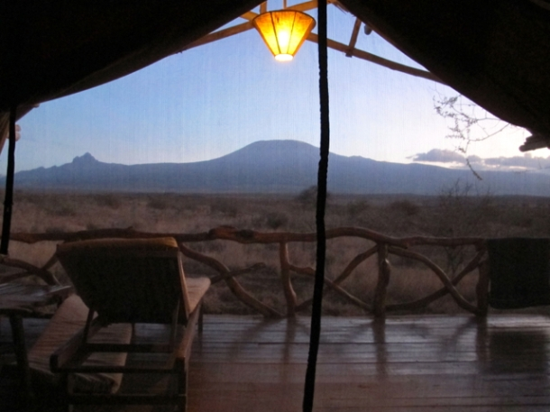 View from my tent at Satao Elerai, just outisde Amboseli National Park, Kenya. Hilary Nangle photoIMG_9376